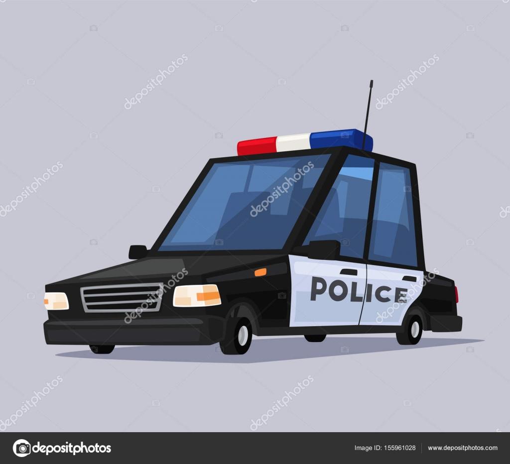 Policejni Auto Kreslene Vektorove Ilustrace Stock Vektor