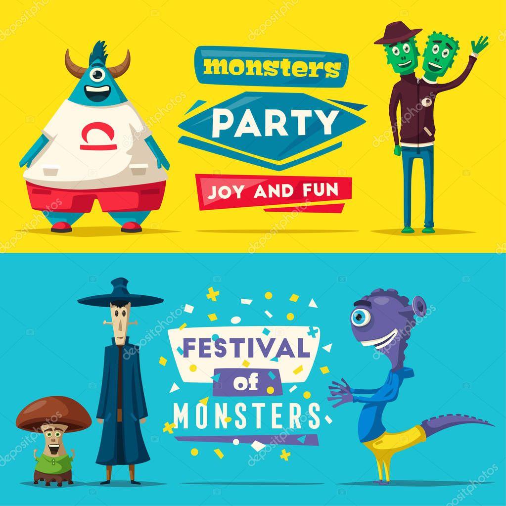 Funny Monsters Cartoon Vector Illustration Alien Character Friendly Person Imagination Bright Mutants Premium Vector In Adobe Illustrator Ai Ai Format Encapsulated Postscript Eps Eps Format