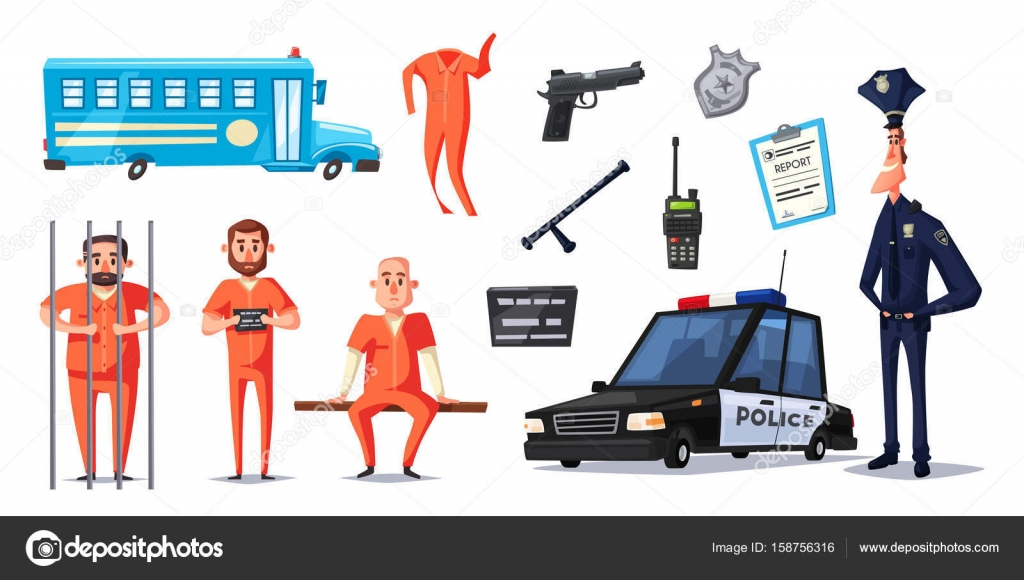 Policie A Vezenstvi Kreslene Vektorove Ilustrace Stock Vektor