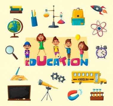 Children and education banner. Cartoon vector illustration