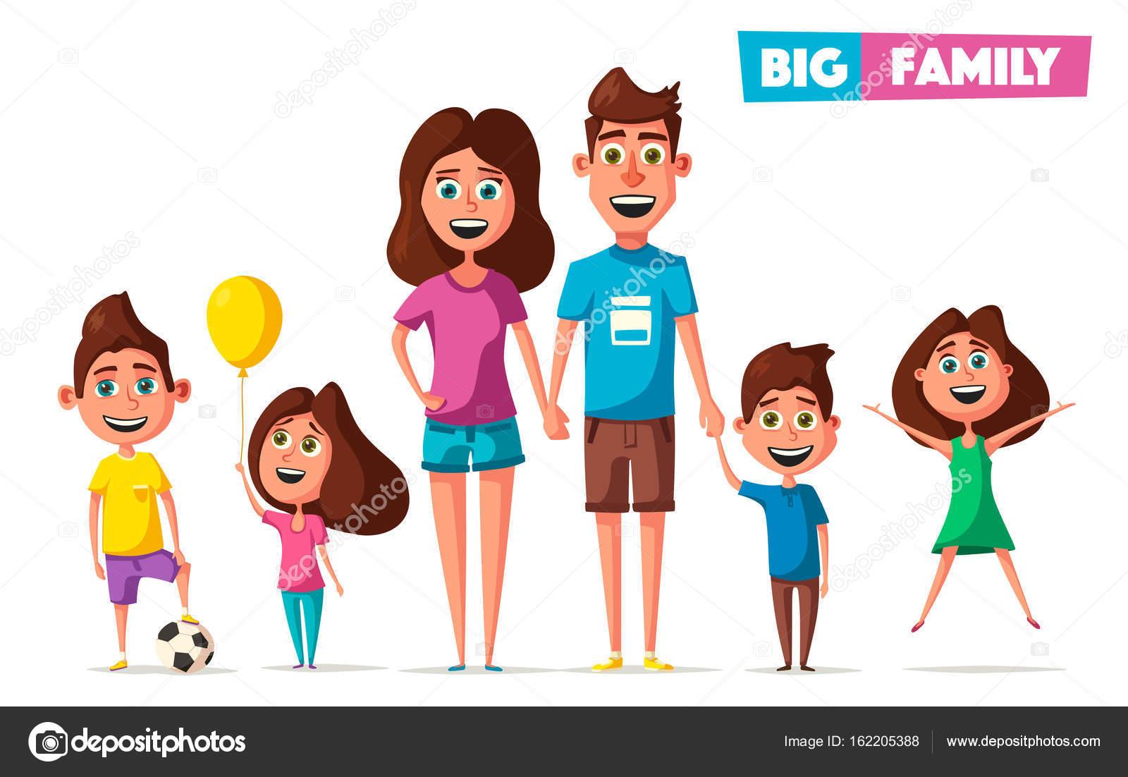 Vector Feliz Viaje Familia: Familia Feliz En El Viaje. Vector Ilustración De Dibujos