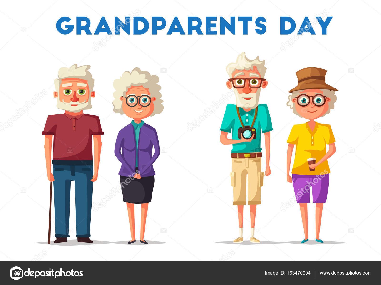Abuelos Felices. Ilustración De Dibujos Animados Vector