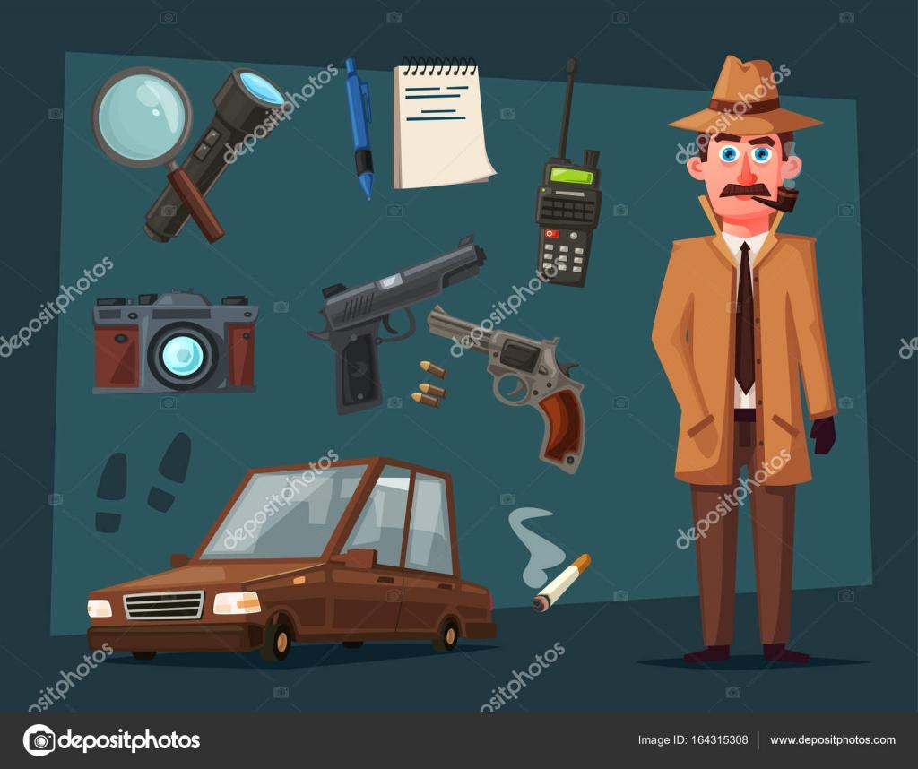 Vektorillustration Von Cartoon Detektiv Mit Lupe