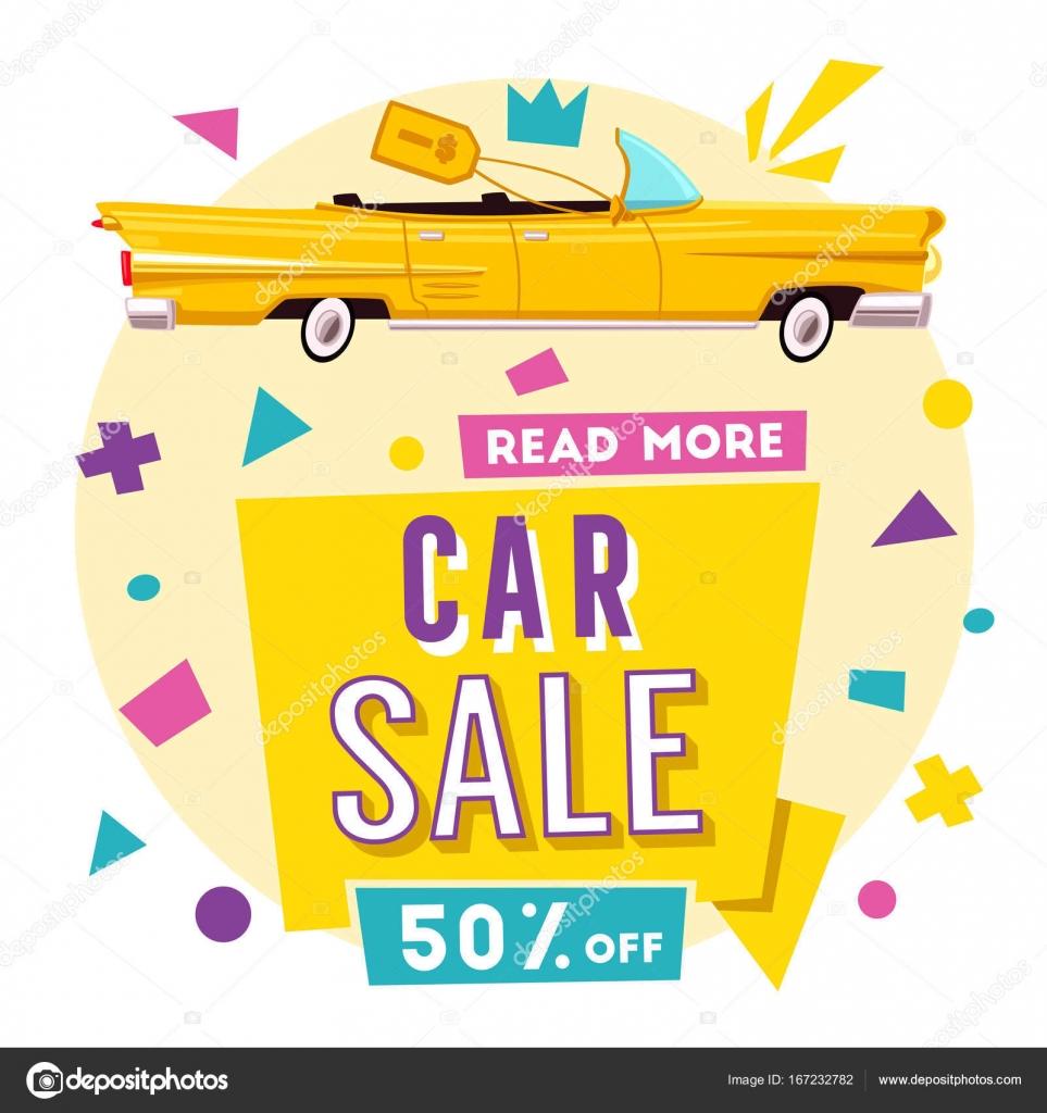 Car sale banner. Vintage auto. Cartoon vector illustration — Stock ...