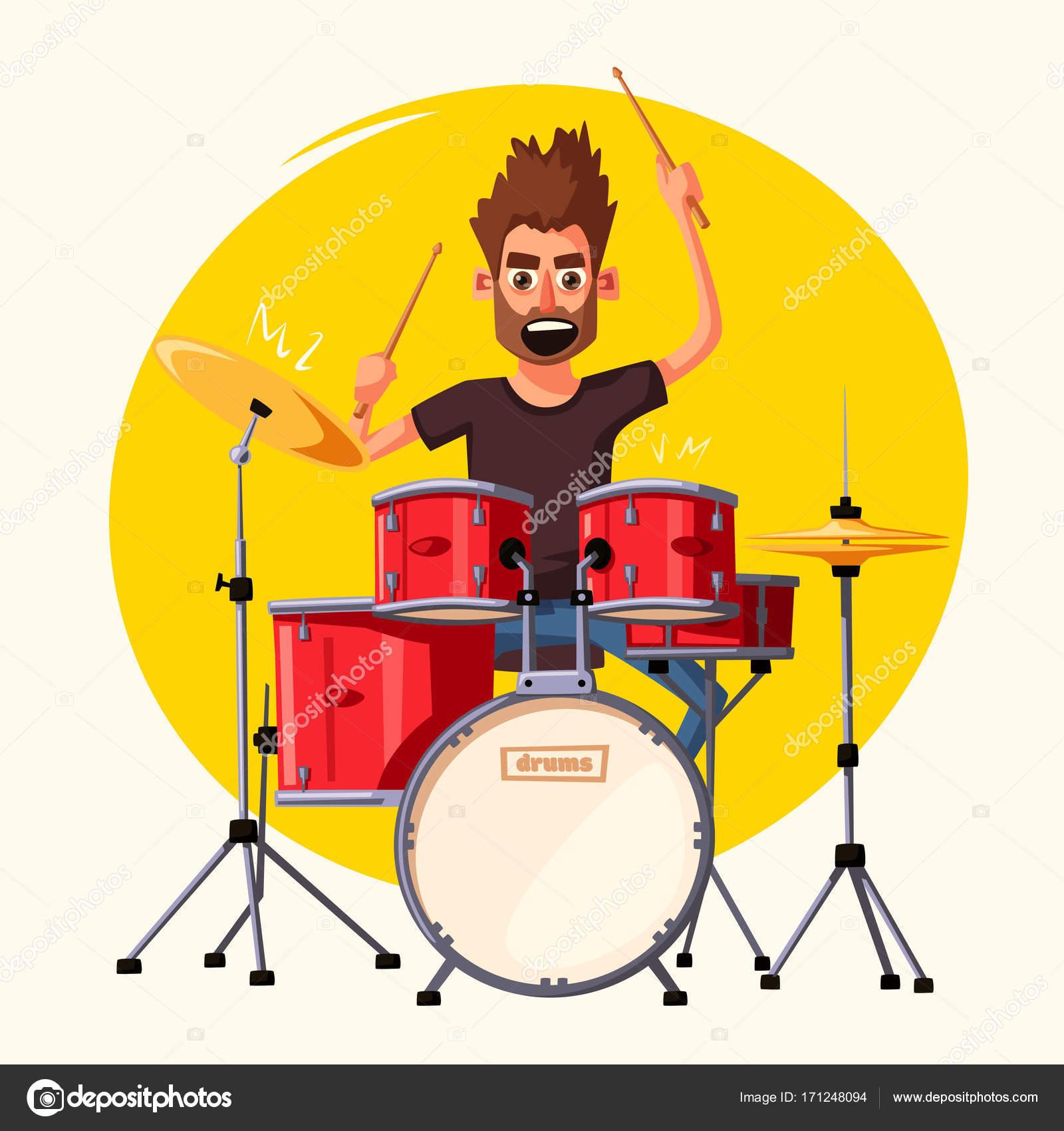 drummer rock music cartoon vector illustration stock vector