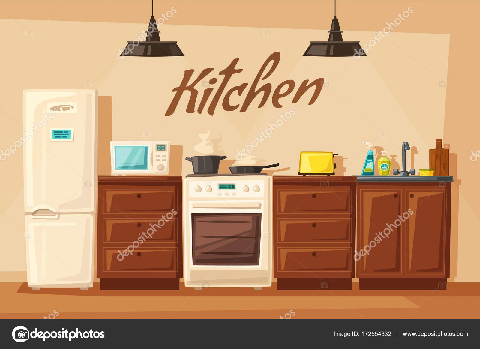 Interior de cocina con muebles. Vector ilustración de dibujos ...