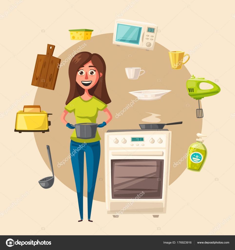 Küche eingerichtet mit Möbeln. Cartoon-Vektor-illustration ...