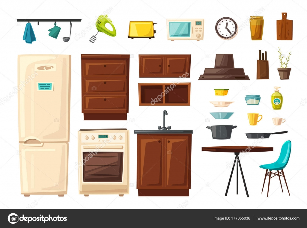 Set Of Kitchen Interior With Furniture And Tools Cartoon Vector