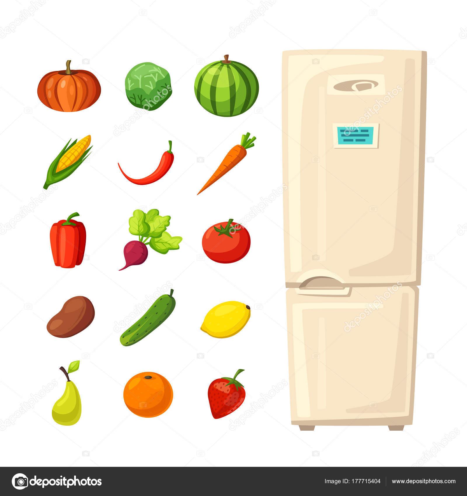 Conjunto De Alimentación Saludable En La Nevera Vector Ilustración