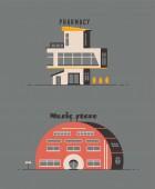 Fotografie Pharmacy drugstore and music store building flat design. Vector illustration.