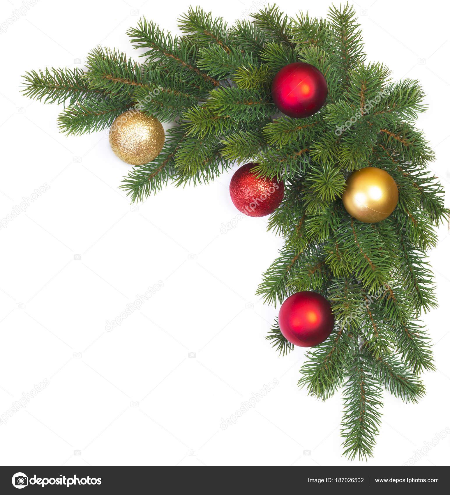 Branche Sapin Noel Avec Des Boules Noel Sur Fond Blanc