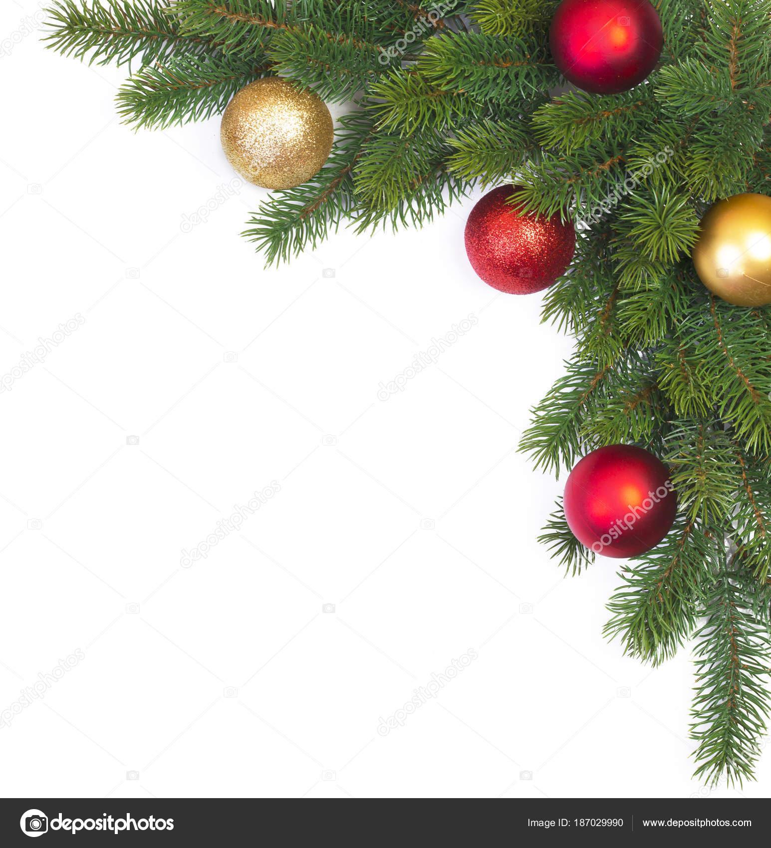 branche sapin no l avec des boules no l sur fond blanc photographie lesuhova 187029990. Black Bedroom Furniture Sets. Home Design Ideas