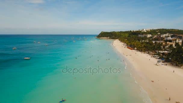 Légifelvételek gyönyörű tengerpart, a trópusi szigeten. Boracay island Fülöp-szigetek