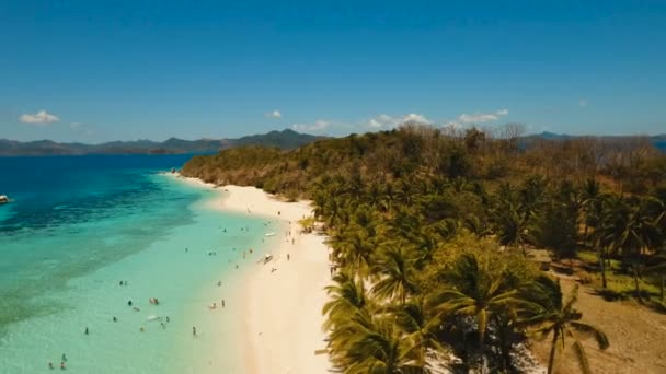 Letecký pohled na krásné pláži na tropickém ostrově Malcapuya. Filipíny