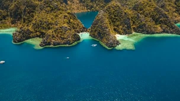 Aerial view tropical lagoon,sea, beach. Tropical island. Busuanga, Palawan, Philippines.