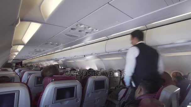 Interior Of The Passenger Airplane. U2014 Stock Video