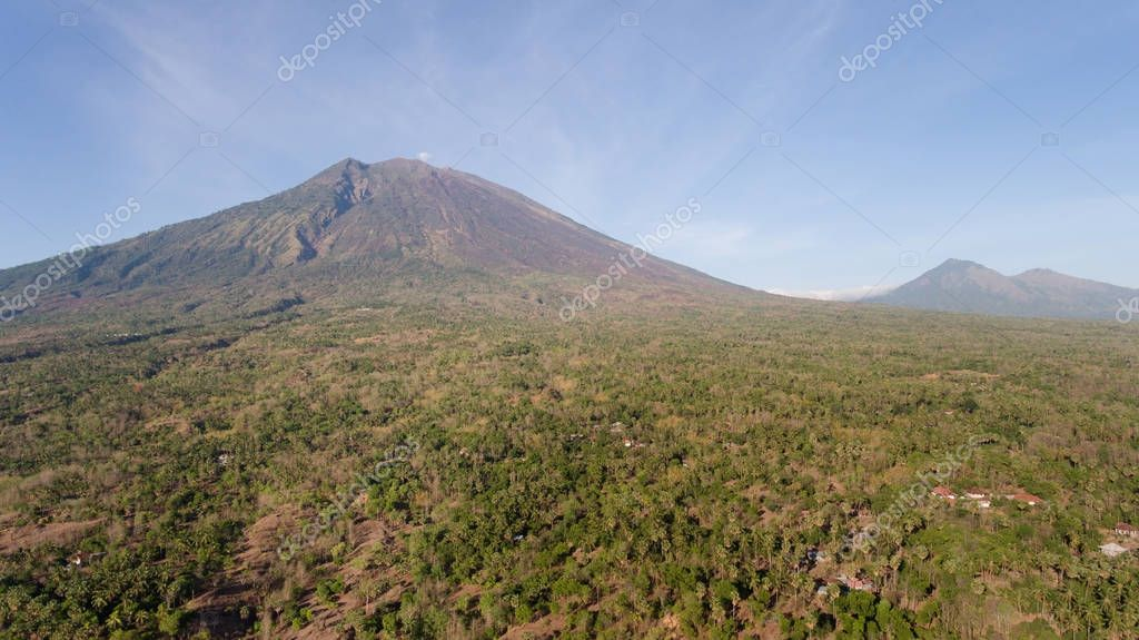 Active volcano Gunung Agung in Bali, Indonesia.