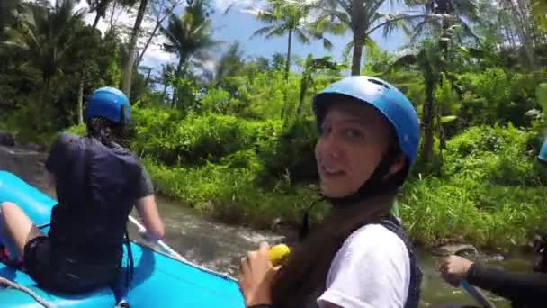 Rafting on the mountain river in Indonesia.