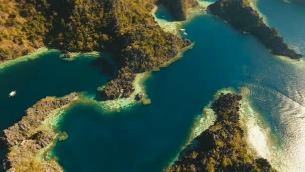 Aerial view Twin lagoon, sea, beach. Tropical island. Busuanga, Palawan, Philippines.