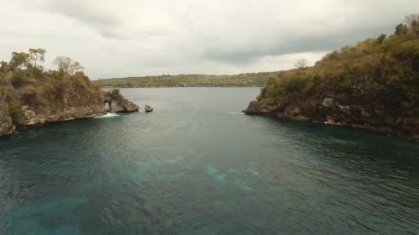 Blue lagoon on a tropical island. Nusa Penida