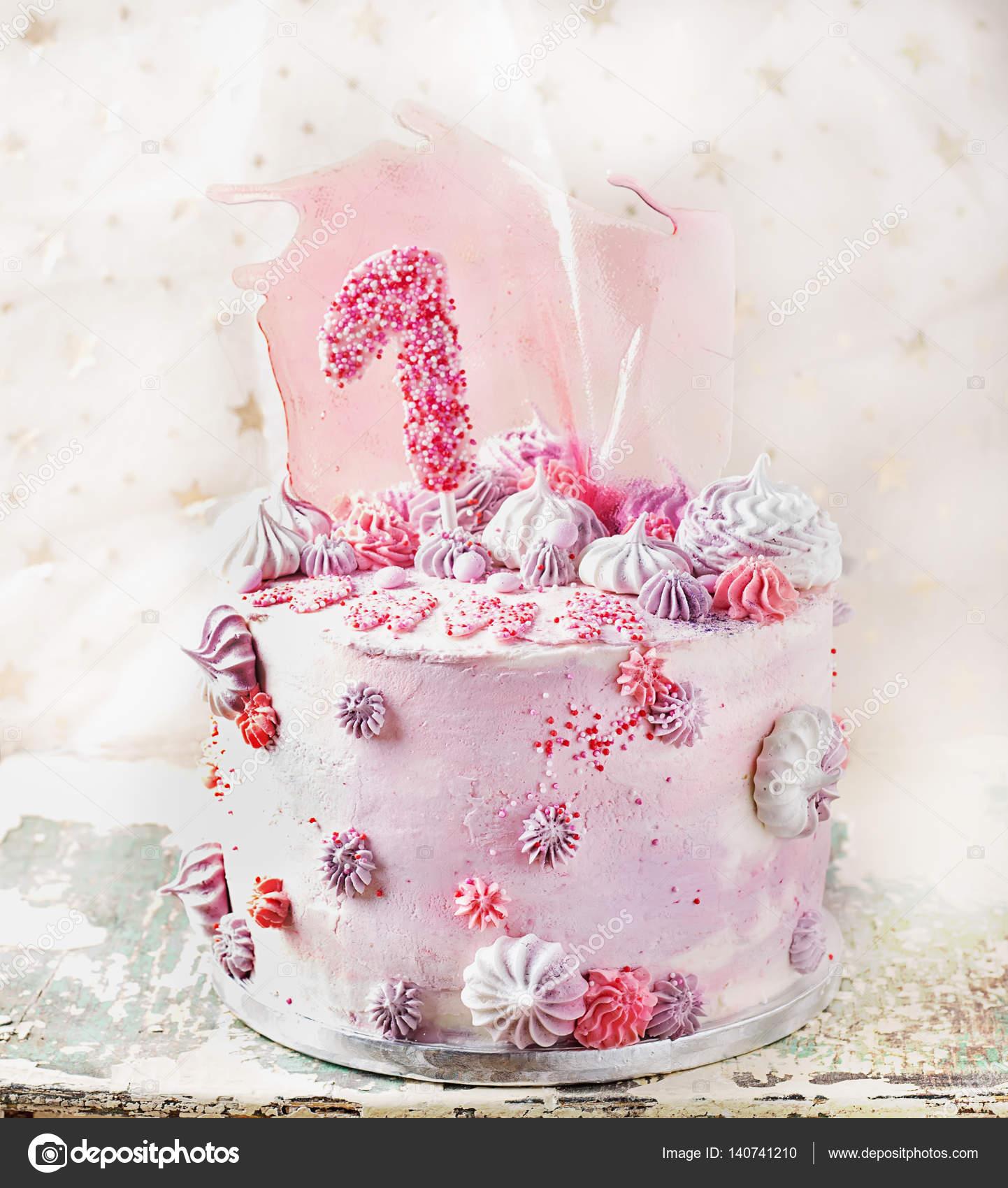 Pink And Violet Fancy Birthday Cake Stock Photo Teelesswonder