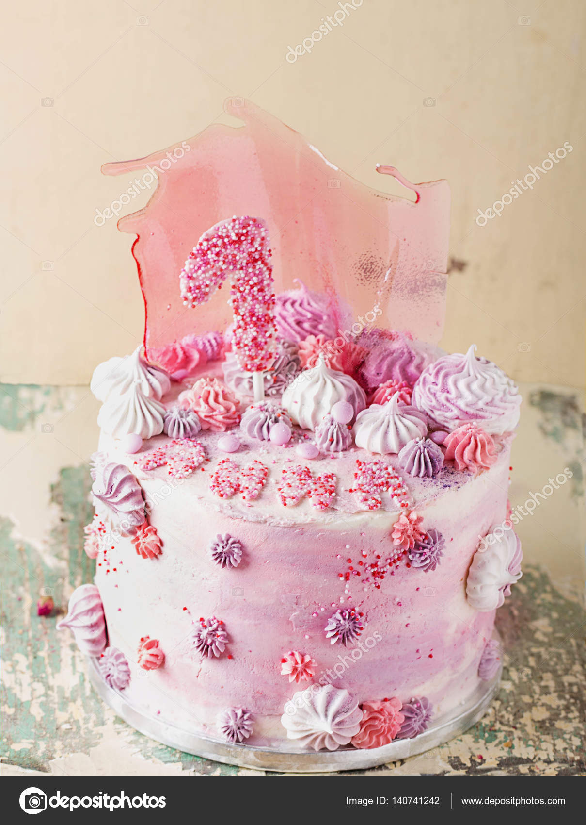 Incredible Pink And Violet Fancy Birthday Cake Stock Photo C Teelesswonder Funny Birthday Cards Online Elaedamsfinfo