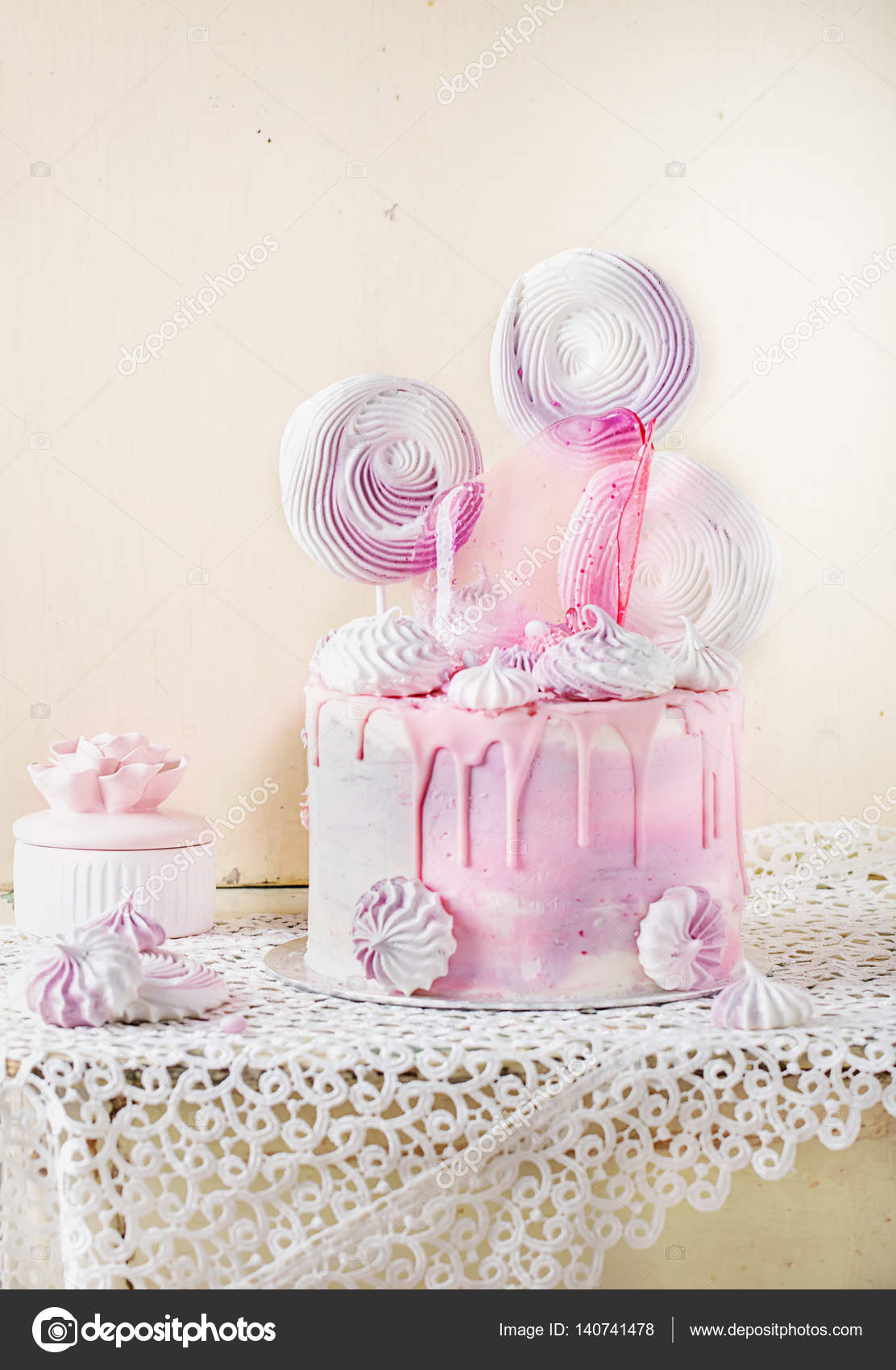 Prime Pink And Violet Fancy Birthday Cake Stock Photo C Teelesswonder Funny Birthday Cards Online Alyptdamsfinfo
