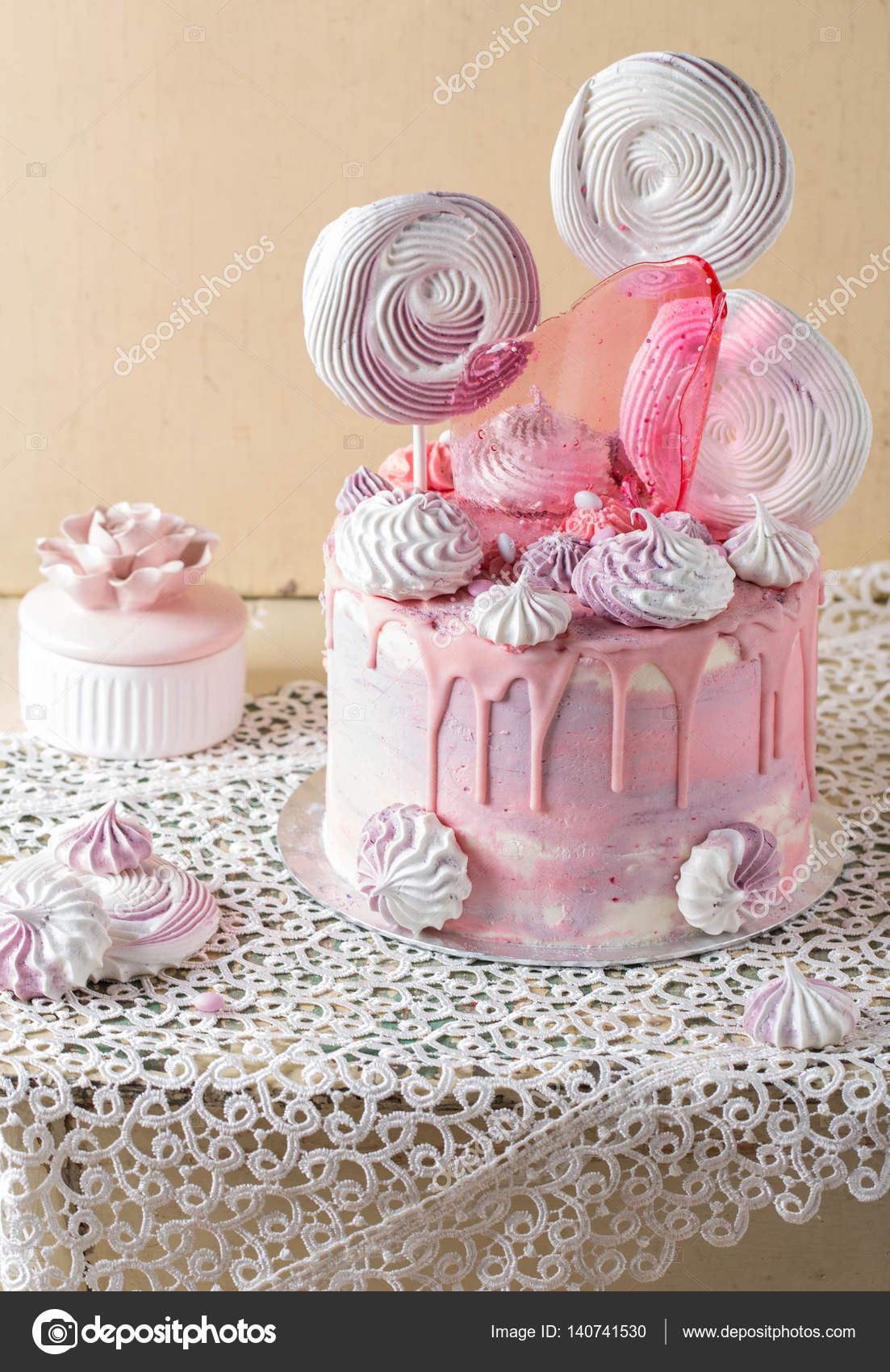 Tremendous Pink And Violet Fancy Birthday Cake Stock Photo C Teelesswonder Funny Birthday Cards Online Alyptdamsfinfo