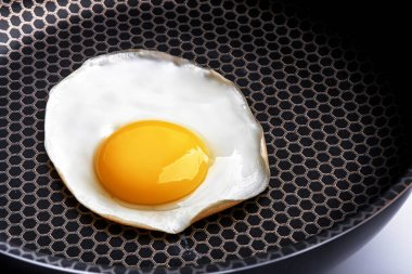 Closeup photo of fried egg on the pan surface