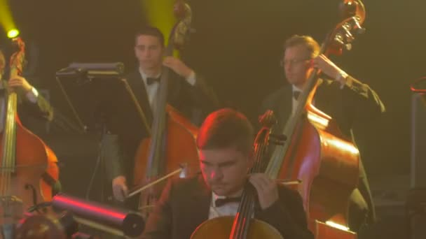 Rock Symphony Concert Kiev Male and Female Musicians Well-Dressed Cellists  and Violinists in Black Are Playing Music Books on Stands Illumination Dark  Hall