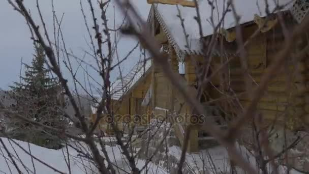 Winter Landscape and Rustic Cottages Orthodox Monastery Wooden Skit of All Saints in Sviatogorskaya Lavra Two Storeyed Log Buildings in Snowy Evening