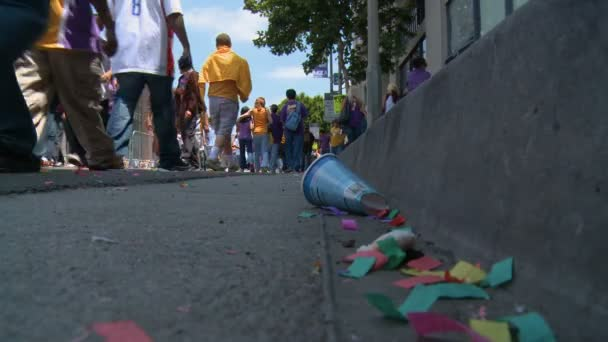 Gutter Confetti. Some of the mess left on the street following the 2010 LA Lakers Championship parade on June 21st, 2010, Los Angeles, California.