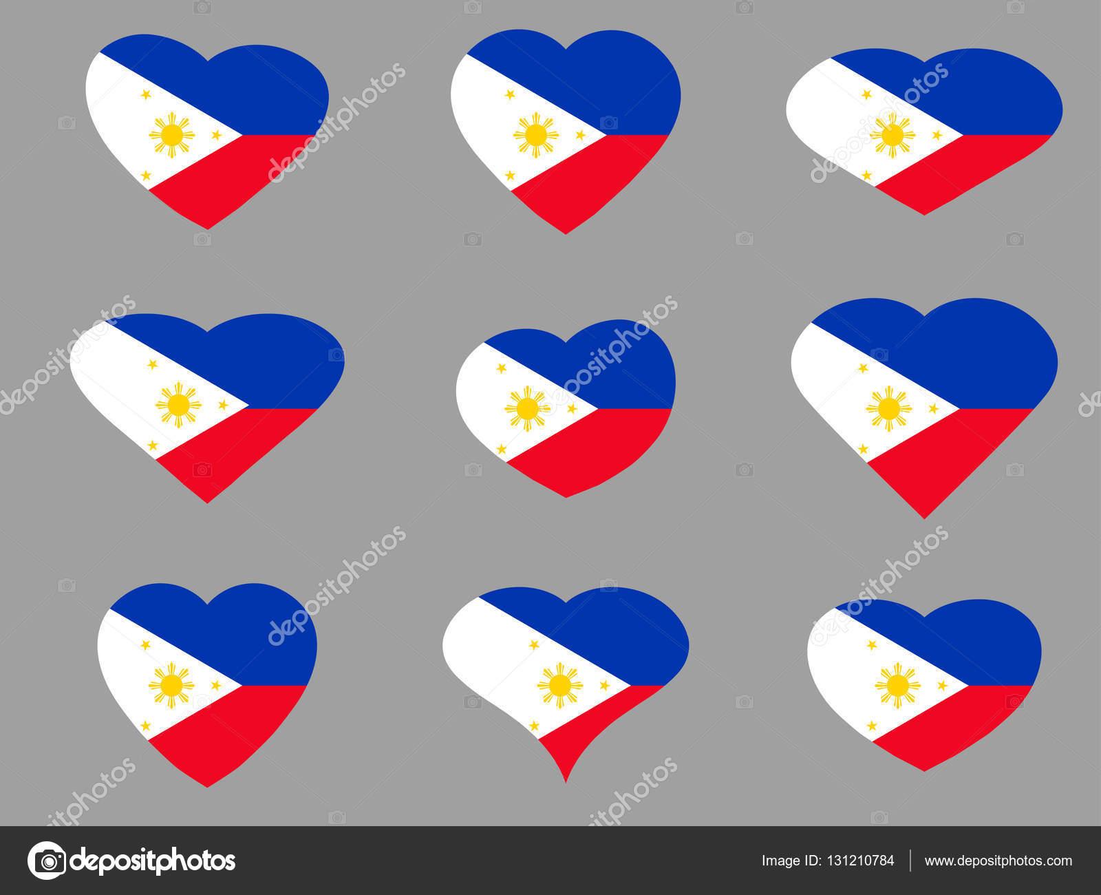 Miluji na Filipínách. Filipíny příznak sada ikon.