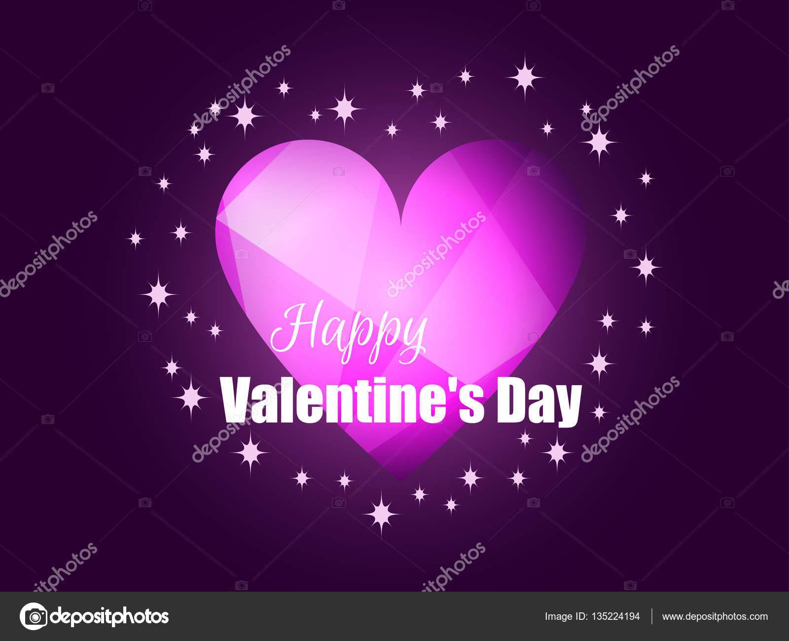 Happy Valentinstag. Leuchtendes Herz mit Lichtstrahlen. Romantischen ...