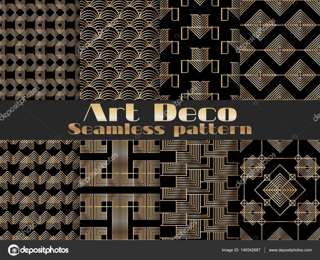 Art deco naadloze patroon set retro achtergronden gouden en