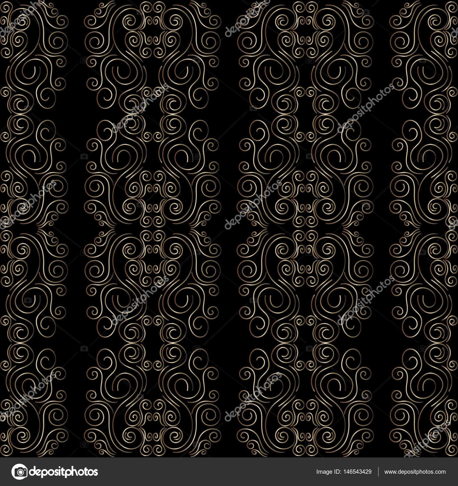 art deco modèle sans couture. backgrounds rétro, couleur or et noire