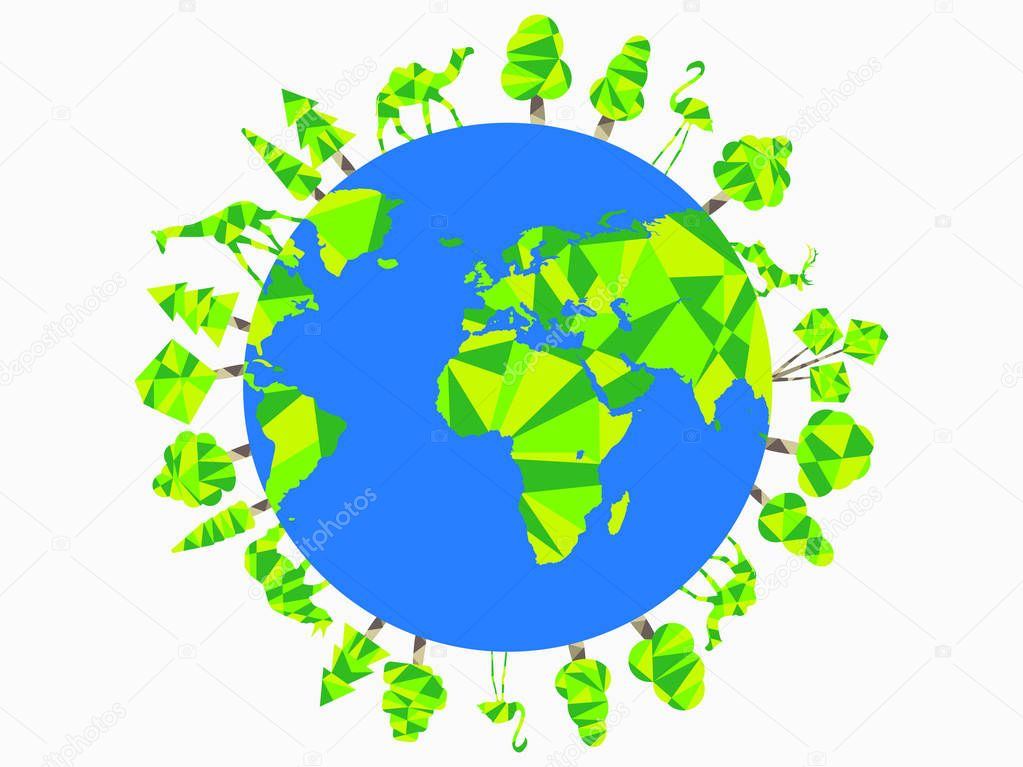 Earth Day.  Planet animals and trees. World Environment Day. Vector illustration