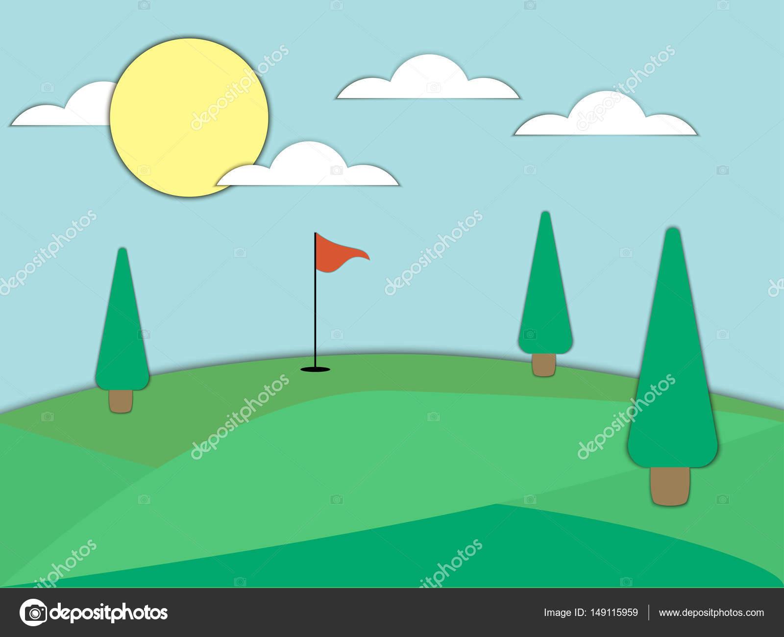 Campo de golf con un agujero y una bandera roja. Arte de papel ...