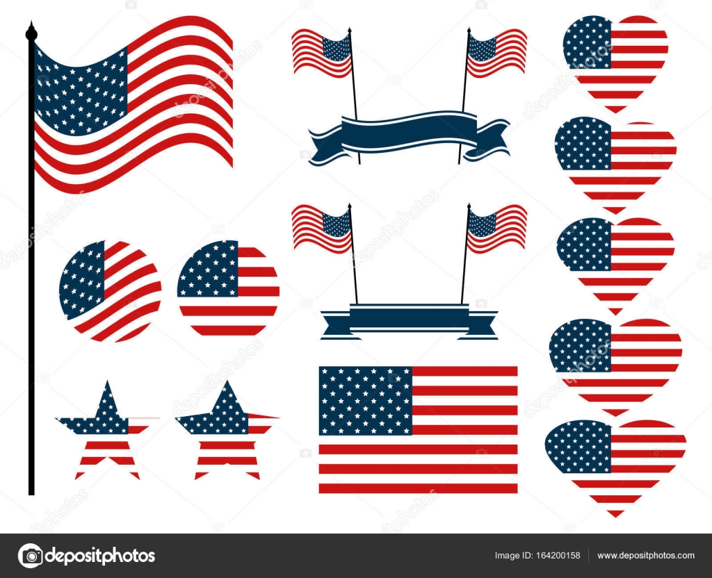 American Flag Set Collection Of Symbols With The Flag Of The United