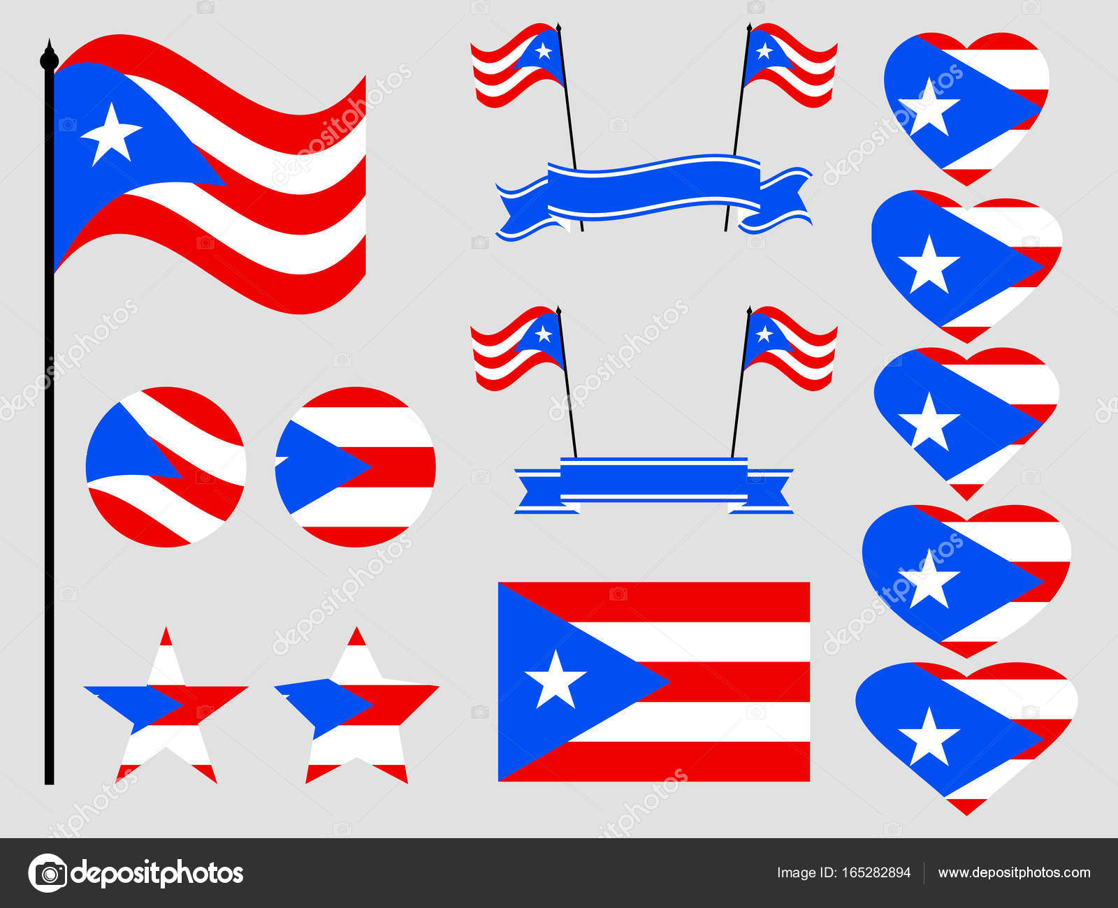 Puerto rico flag set symbols flag in heart vector illustration puerto rico flag set symbols flag in heart vector illustration stock vector biocorpaavc Choice Image