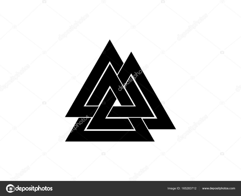 Valknut is a symbol of the worlds end of the tree yggdrasil sign valknut is a symbol of the worlds end of the tree yggdrasil sign of the god odin norse culture triangle logo vector illustration vector by biocorpaavc
