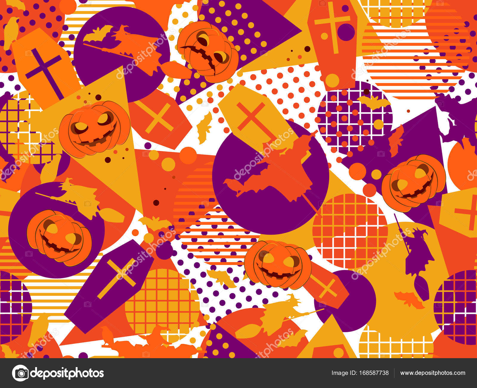 halloween memphis seamless pattern festive background with mystical creatures and geometric figures a memphis in