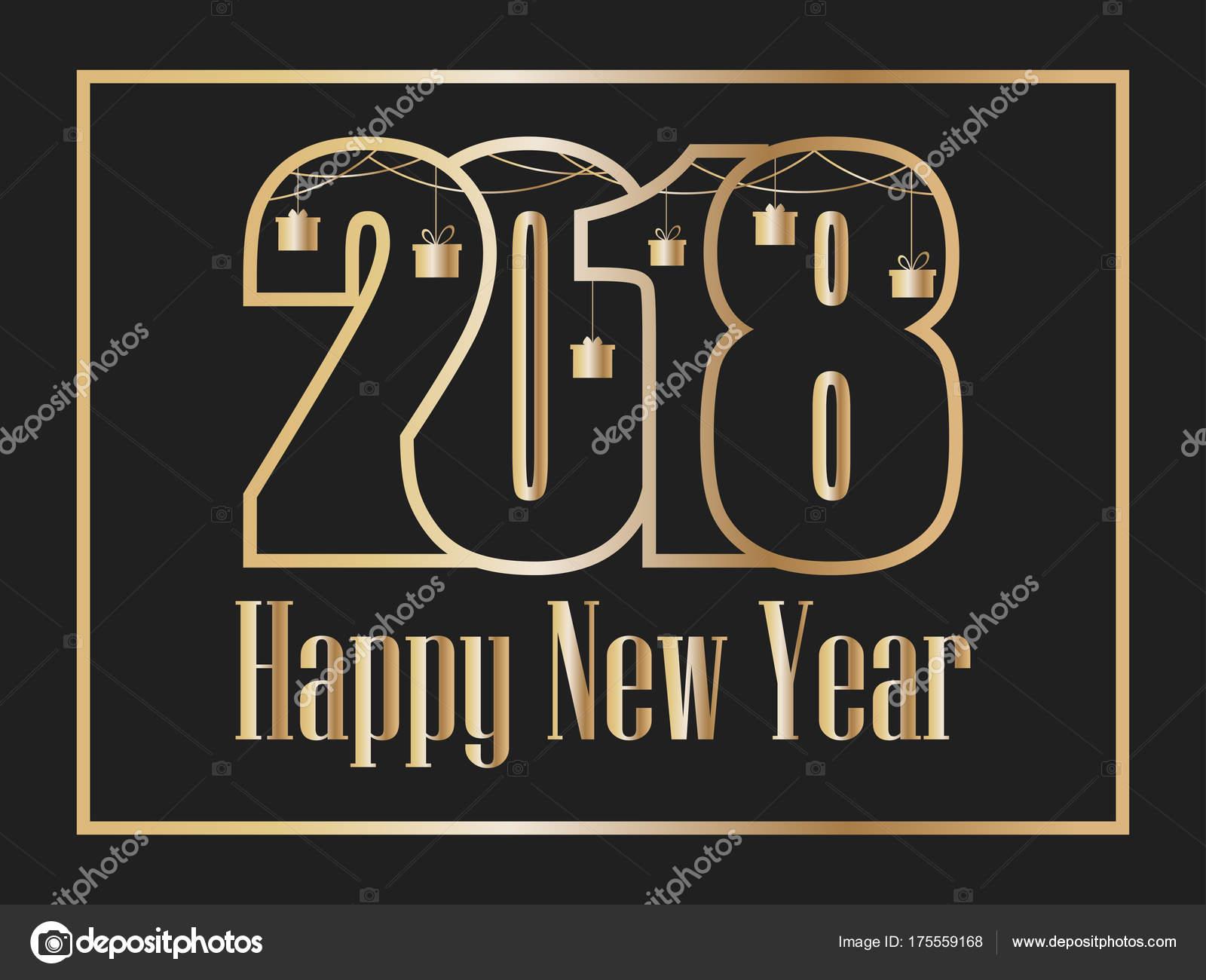 2018 frohes neues Jahr. Goldene Zahlen auf schwarzem Hintergrund ...