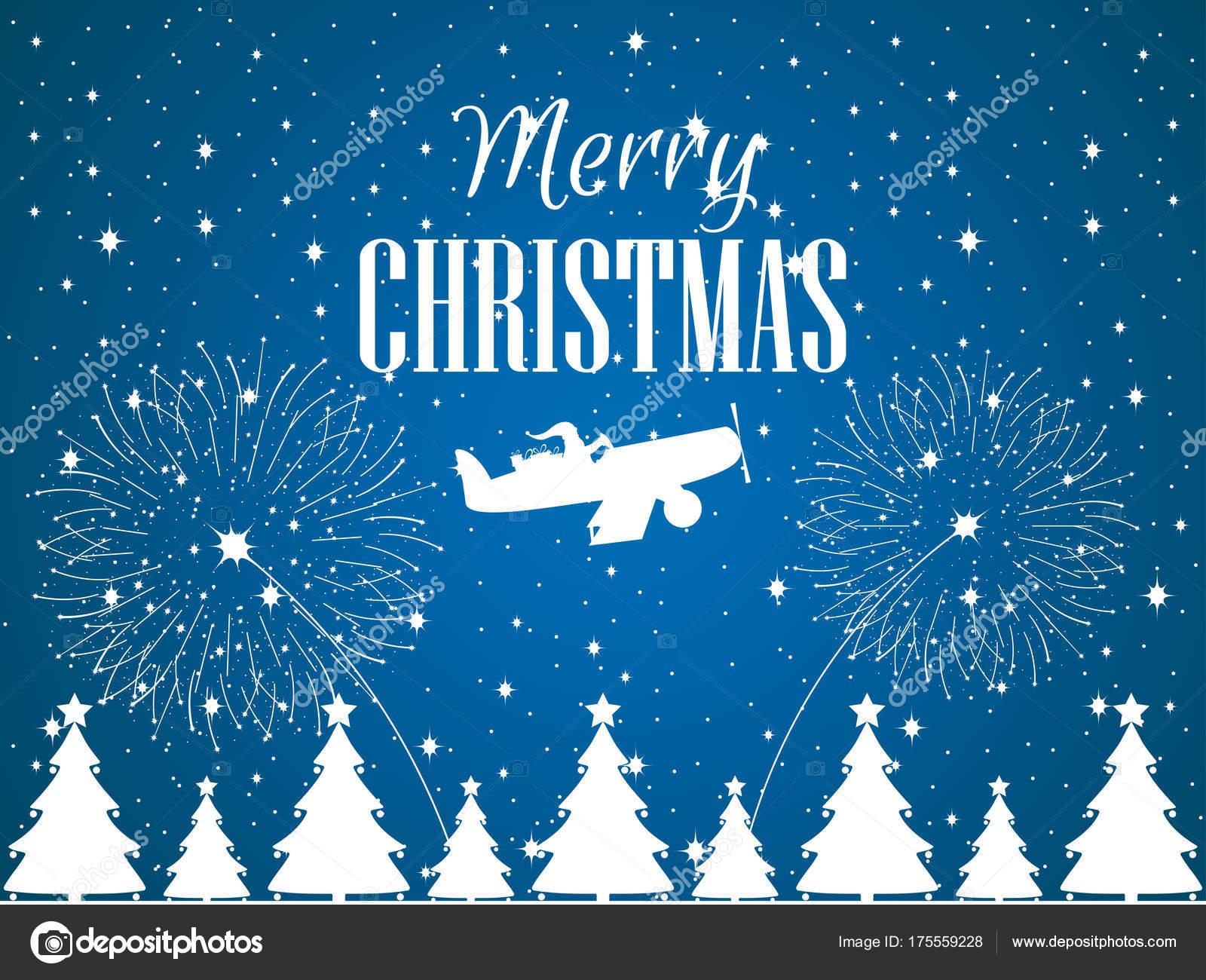 Frohe Weihnachten Flugzeug.Frohe Weihnachten Santa Claus Fliegt In Einem Flugzeug