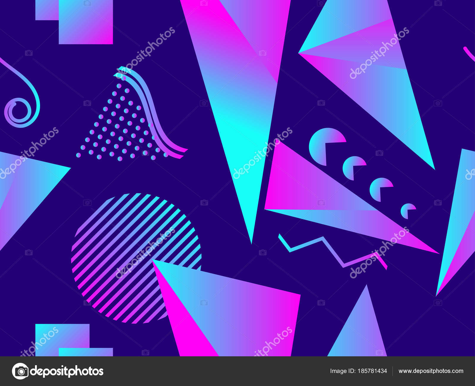 Memphis seamless pattern  Holographic geometric shapes