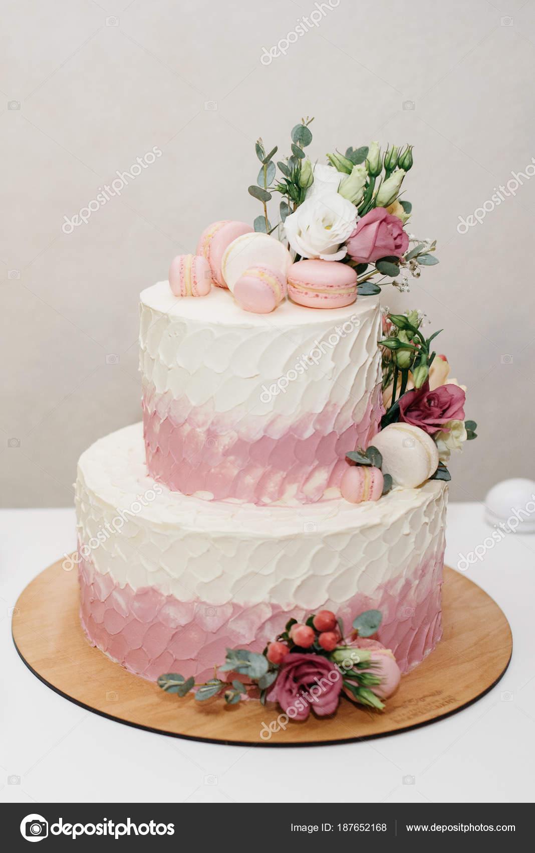 White Wedding Cake With Flowers Stock Photo Nazariykarkhut