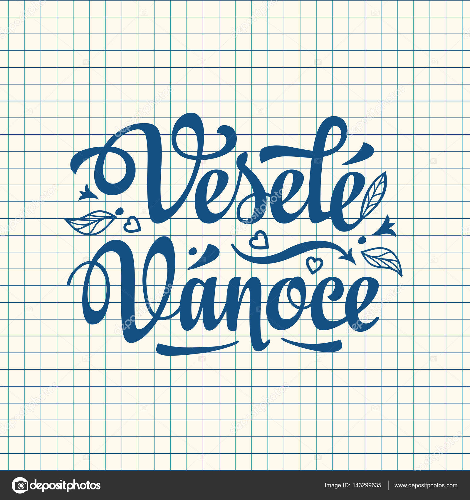Vesele Vanoce Lettering Text For Greeting Cards Xmas In The Czech