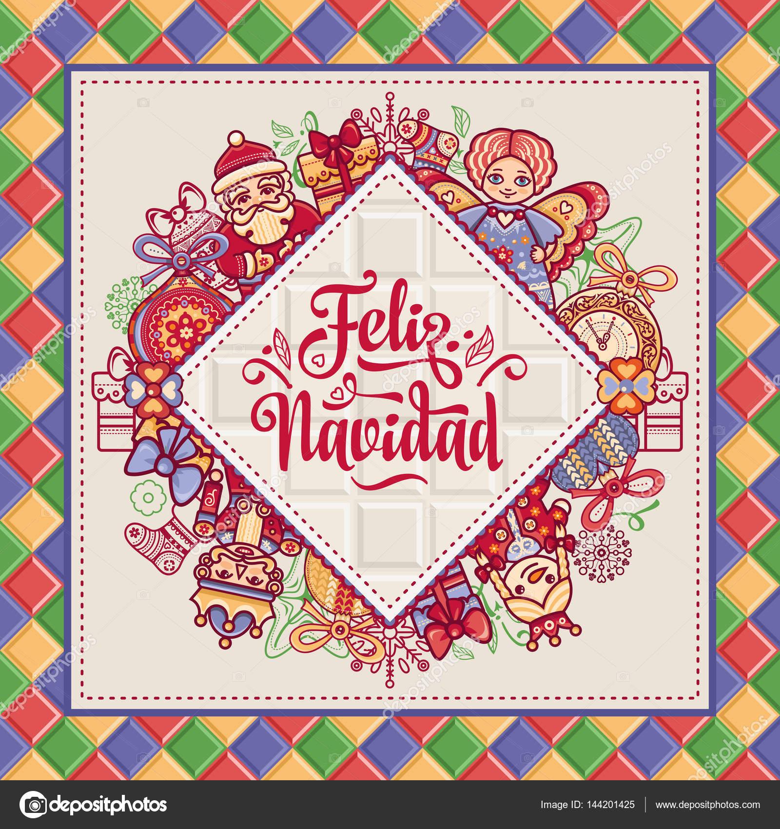 Feliz Navidad Greeting Card In Spain Xmas Festive Background
