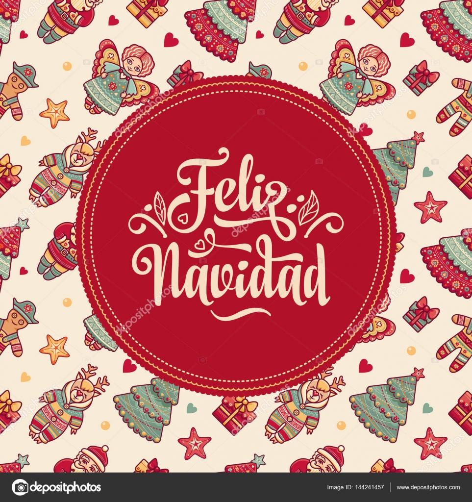 Feliz Navidad Xmas Card On Spanish Language Stock Vector C Zzn