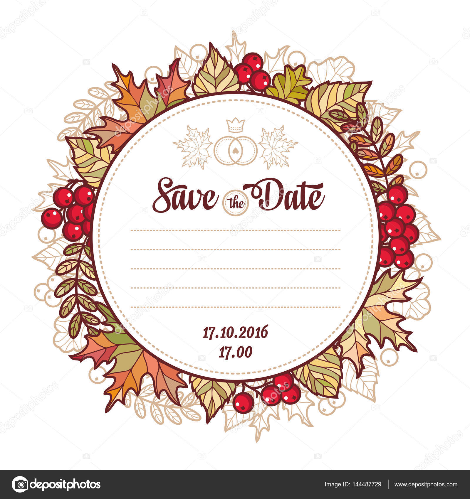 Wedding Card Template Autumn Background Invitation For